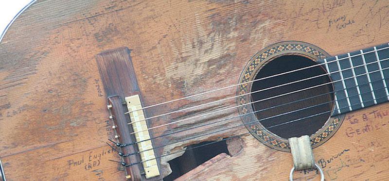Willie Nelson Damaged Martin Acoustic