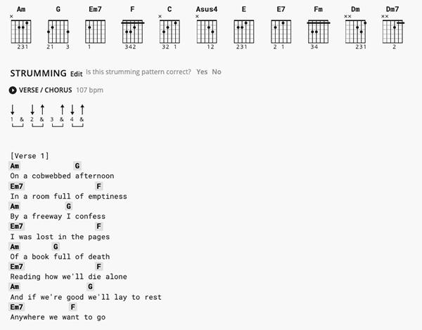 Chord Charts with Accompanying Lyrics