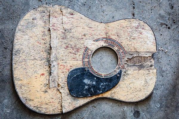 Old Guitar Soundboard
